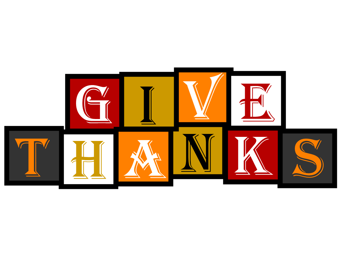 "Graphic that says ""Give Thanks"""